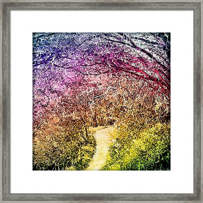 Framed Print featuring the digital art Ethereal Garden Pathway - Trail In Santa Monica Mountains by Joel Bruce Wallach