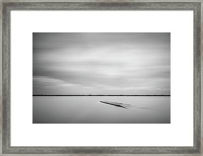 Ethereal Long Exposure Of A Pier In The Lake Framed Print