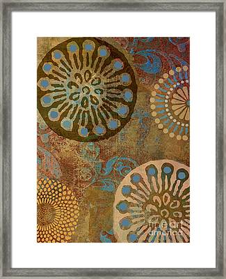 Etheric Circles Ethnic Art Pattern Framed Print