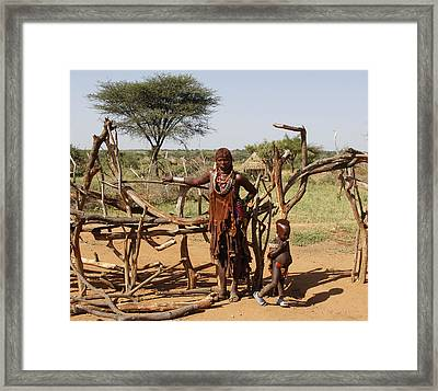 Ethiopia-south Mother And Baby No.2 Framed Print by Robert SORENSEN