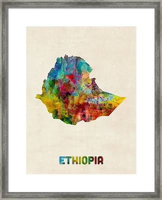 Ethiopia Watercolor Map Framed Print