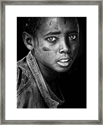 Ethiopian Eyes Bw Framed Print