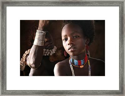Ethiopian Hamer Girl Framed Print