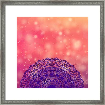 Ethnic Mandala On Geometric Pattern Framed Print