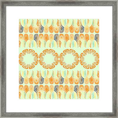 Ethnic Orange Pattern Framed Print