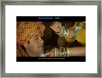 Ethnic Tribal Jewellery Golden Bangles And Rajasthani Turban Very Popular All Over The World And In  Framed Print