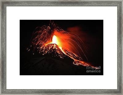 Framed Print featuring the pyrography Etna by Bruno Spagnolo