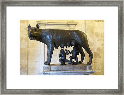 Etruscan Bronze Statue Of The She-wolf With Romulus And Remus. Capitoline Museum. Capitoline Hill. R Framed Print by Bernard Jaubert