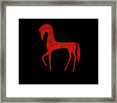 Framed Print featuring the painting Etruscan Horse by Stephanie Moore