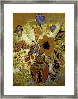 Framed Print featuring the painting Etrusian Vase With Flowers by Odilon Redon