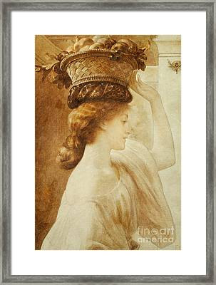 Eucharis  A Girl With A Basket Of Fruit Framed Print