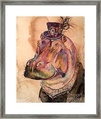 Eunice Hippo Framed Print by Christy  Freeman