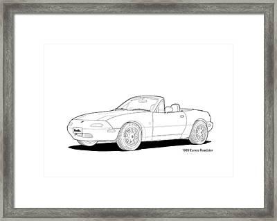 Eunos Roadster Mk1 Line Illustration Framed Print