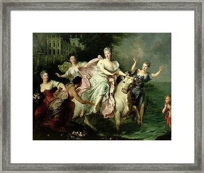 Europa Being Carried Off By Jupiter Metamorphosed Into A Bull Framed Print by Pierre Gobert