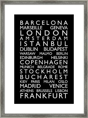 Europe Cities Bus Roll Framed Print