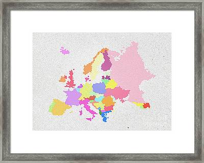 Europe Map On Stained Glass Framed Print by Setsiri Silapasuwanchai