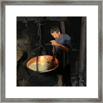 European Cheese Maker Framed Print by Carol Peck