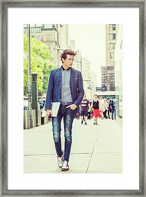 European College Student Studying In New York Framed Print