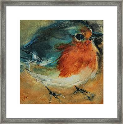 Framed Print featuring the painting European Robin 2 by Jani Freimann
