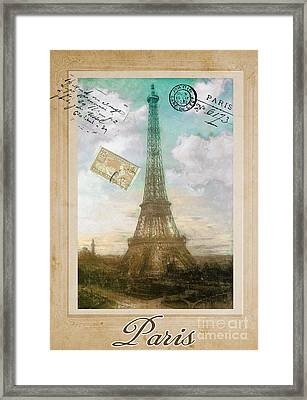 European Vacation Postcard Paris Framed Print by Mindy Sommers