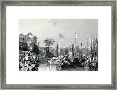 European Warehouses, China, 19th Century Framed Print