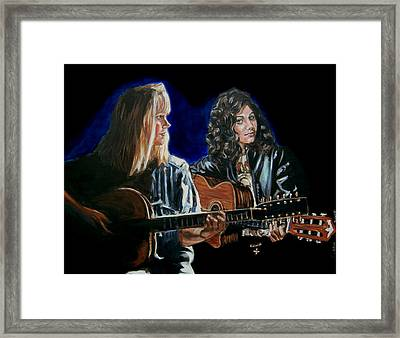 Framed Print featuring the painting Eva Cassidy And Katie Melua by Bryan Bustard