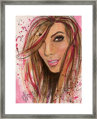 Framed Print featuring the painting Eva Longoria by P J Lewis