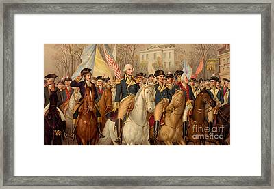 Evacuation Day And Washington's Triumphal Entry In New York City Framed Print by American School