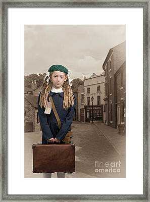 Evacuee Girl With Suitcase Framed Print by Amanda Elwell