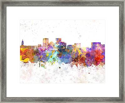 Evansville Skyline In Watercolor Background Framed Print