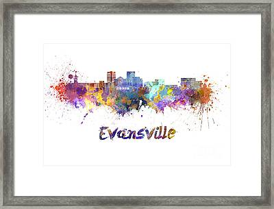 Evansville Skyline In Watercolor  Framed Print