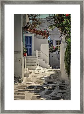 Framed Print featuring the photograph Eva's Garden Cafe Mykonos by Tom Prendergast