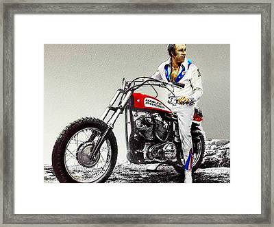 Evel Knievel Painting Full Color Large Framed Print by Tony Rubino