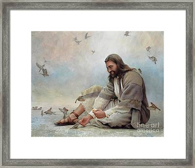 Framed Print featuring the painting Even A Sparrow by Greg Olsen
