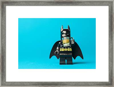 Even Batman Needs A Beer Framed Print by Samuel Whitton