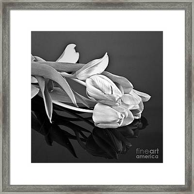 Even Tulips Are Beautiful In Black And White Framed Print by Sherry Hallemeier
