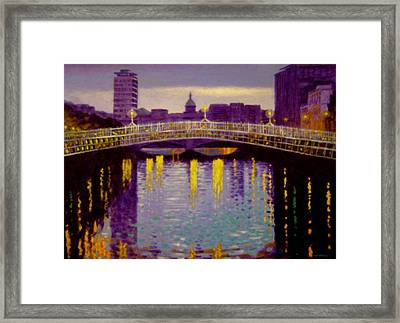 Evening - Ha' Penny Bridge- Dublin Framed Print by John  Nolan
