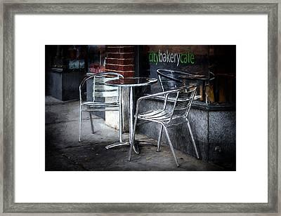 Evening At A Sidewalk Cafe Framed Print