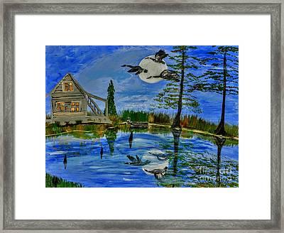 Evening At Acadiana Pond Framed Print