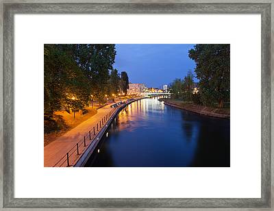 Evening At Brda River In Bydgoszcz Framed Print
