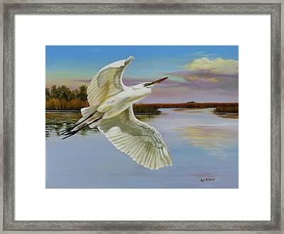 Evening At Campbell's Bayou Framed Print by Phyllis Beiser
