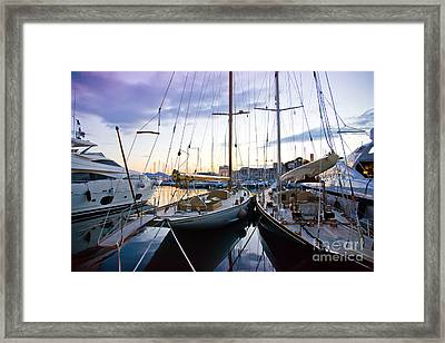 Framed Print featuring the photograph Evening At Harbor  by Ariadna De Raadt
