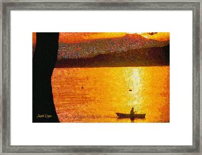 Evening At Lake - Pa Framed Print by Leonardo Digenio