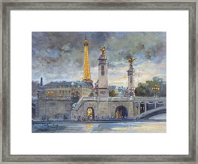 Evening At Pont Du Alexandre, Paris Framed Print
