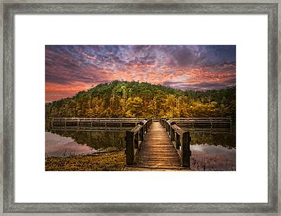 Evening At The Lake Framed Print by Debra and Dave Vanderlaan