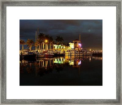 Evening At The Marina Framed Print by Kimberly Camacho
