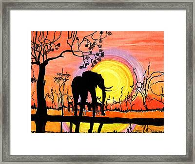 Framed Print featuring the painting Evening At The Pond by Connie Valasco