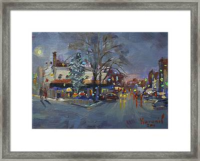 Evening At Webster And Main St Framed Print