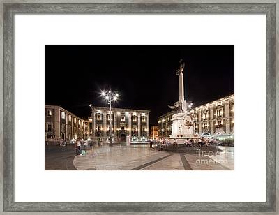 Evening Atmosphere At The Piazza Duomo In Catania Sicily Framed Print