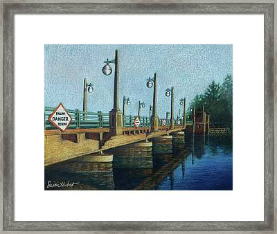 Framed Print featuring the painting Evening, Bayville Bridge by Susan Herbst